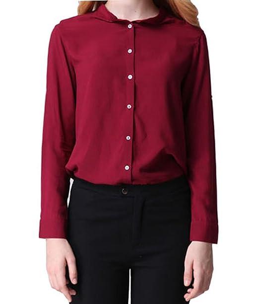 Purpura Erizo Colores Mujeres Camisa Fruncida Camisas Con Manga Larga Blusas ,Vino Rojo,M