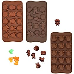 Poproo Animal Shaped Candy Mold 3-Piece Chocolate Molds Ice Cube Tray - Animal Heads, Figures, Pig Face (Set of 3)