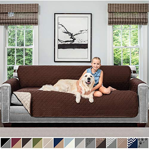 Sofa Shield Original Patent Pending Reversible X-Large Oversized Sofa Protector for Seat Width up to 78 Inch, Furniture Slipcover, 2 Inch Strap, Couch Slip Cover Throw for Dogs, Sofa, Chocolate Beige (Cushions Large For Sale Sofa)