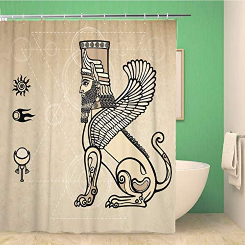 (Awowee Bathroom Shower Curtain Cult Fantastic Assyrian Sphinx Imitation of Old Head Line 60x72 inches Waterproof Bath Curtain Set with Hooks)