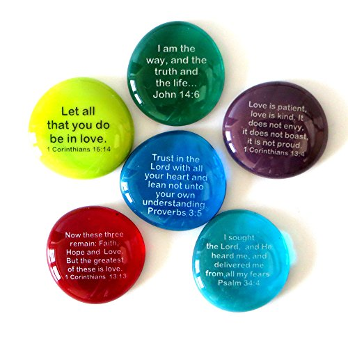 Lifeforce Glass Scripture Glass Stones, Six of Your Favorite Inspiring Bible Verses on Translucent and Opaque Rocks Set IV