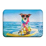 Cool Dog Surfing Non Slip Washable Cozy Indoor Bathroom Mat for Living Room Bedroom