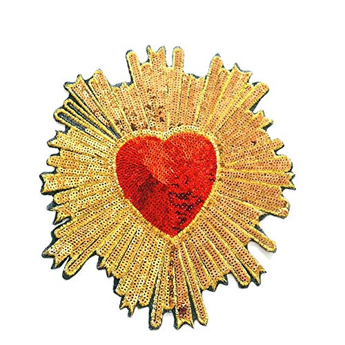 1 Pcs Embroidery Heart Large Patch Handmade Sequin Patches for Clothing DIY Iron on Applique Embroidered Flowers (Style 9)