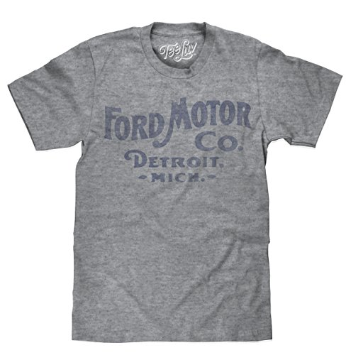 Tee Luv Ford Motor Company T-Shirt - Big and Tall Ford Detroit Shirt, Graphite Snow Heather, Large Tall (Racing Vintage T-shirts)