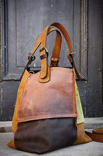 Handmade Leather Designer Bag, Oversized Leather Bag, Multicolor Bag, NEW