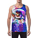 Boys 3D Print Space cat Starry Sky Galaxy t-Shirt Summer Casual Cotton Undershirt Tank top for Men Beach Running Sport XL Space Cat X-Large