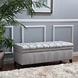 Hastings Tufted Fabric Storage Ottoman Bench (light grey) For Sale