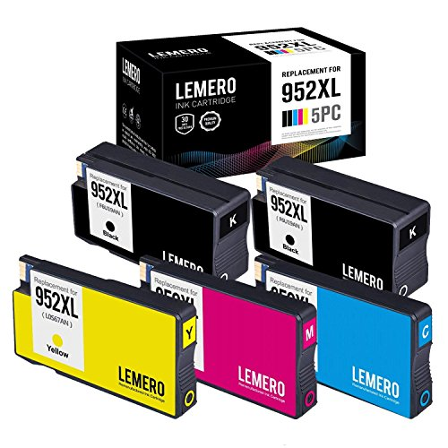 Lemero Replacement for HP 952XL Remanufactured Ink Cartridge (1 Set + 1 Black) Compatible with HP Officejet pro 8210 8710 8715 8720 8725 8730 8740 series printer by Lemero
