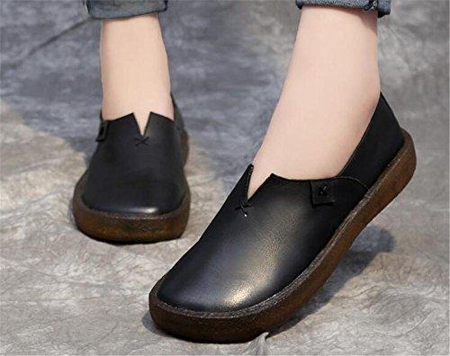 Black calzan retros del genuino 36To40 tama mujeres o cuero Las suaves holgazanes los TqBnXx75wp
