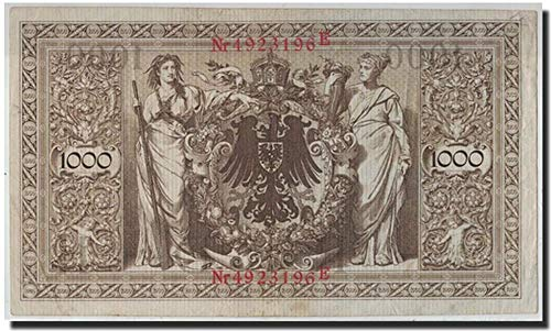 1910 DE GIANT 1910 GERMAN EMPIRE 1000 MARKS! HIGHEST PRE-1922 DENOM! TEXTURED PAPER 10000 Marks Crisp Very Fine