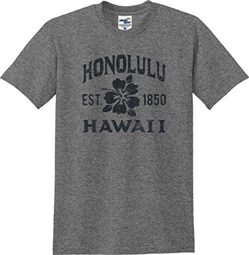 Honolulu Hawaii Established 1850 Hibiscus T-Shirt (S-5X) (XXX-Large, Graphite - Ala Waikiki Moana Center