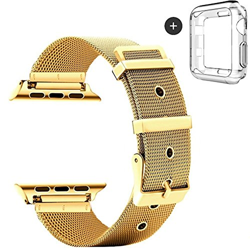 Gold Transparent Watch (Deyo Compatible Apple Watch Bands with Screen Protector Case Cover,38mm/42mm Women Men Milanese Loop Stainless Steel with Metal Clasp Compatible iWatch Series 3/2/1 Sport Edition)