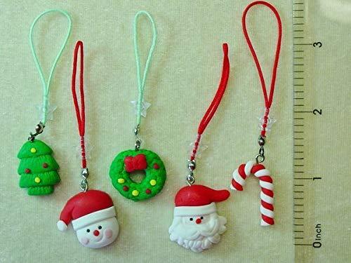 5 Fimo Clay Christmas Zipper Pulls Lanyard Santa Snowman Stocking Gift Stuffers