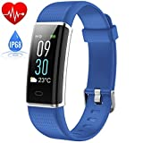 Fitness Tracker Waterproof IP68, HETP Colour Screen SmartWatch Activity Heart Rate Monitor Tracker Bluetooth Pedometer Calorie Counter Weather Display,Water Resistant Touch Screen Brightness Adjustable Smart Bracelet Sleep Monitor for iPhone Samsung HuaWei Android and iOS Smartphone-Blue
