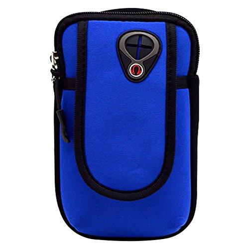 ACTLATI Unisex Sports Arm Bag Portable Multifunctional Armband Pockets Wrist Cellphone Money Keys Cards Holder for Jogging Running Cycling Hiking Deep Blue (Armband Digital Neoprene)