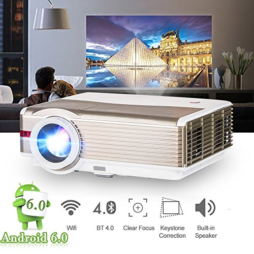 LCD Bluetooth Projector WiFi Android 6.0 High Definition 5000 Lumen 200