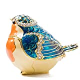 Easter Day Gifts for Her for Him Birthday Gifts for Women Fine Pewter Boxes Jeweled Bird Trinket Small Box with Crystal Bird Decor Jewelry Holder Organizer Trinket Boxes Hinged (Orange and Blue)