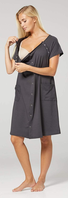 HAPPY MAMA Damen Umstands Stillen Krankenhaus Kleid Nachthemd Seitentaschen 1029