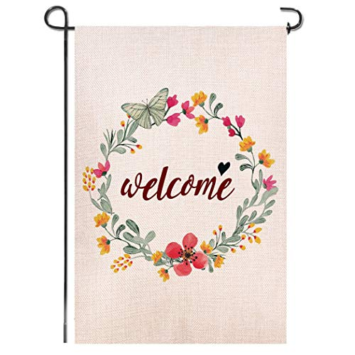 Shmbada Flowers Welcome Burlap Double Sided Garden Flag, Premium Material, Seasonal Spring Summer Outdoor Funny Decorative Flags for Garden Yard Lawn, Gift for Children, 12.5 x 18.5 inch