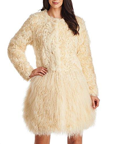 Frr Lamb Fur and Mongolian Coat In Beige