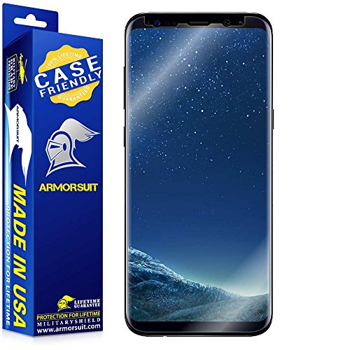 Armorsuit - Galaxy S8 Screen Protector [Case Friendly] MilitaryShield For Samsung Galaxy S8 Lifetime Replacement Anti-Bubble HD Clear