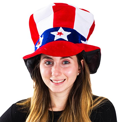 Funny Party Hats Light up Uncle Sam Hat - Patriotic Hat - Fourth of July Hats - Independence Day - America - Red White and Blue Party - Day Independence Hat