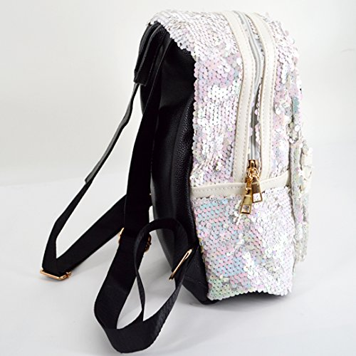 Sequin Bow Glitter Mini Girls Leather Shoulder Purse black Bag Felice and Backpack White86 Cute Women for 5wYEgWqxp