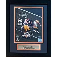$249 » John Elway Autographed Denver Broncos Super Bowl XXXII 32 Signed Football 8x10 Framed Helicopter Photo Beckett BAS COA