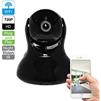 R-Tech CA-IP-BV101-B Plug & Play 720p HD Wireless Pan/Tilt 2-Way Audio IP Camera with Night Vision (Black)