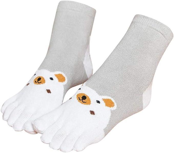 VJGOAL Niños Invierno Mantener caliente Grueso Transpirable Animal Print Patchwork Toe Calcetines Cinco Dedos Calcetines de algodón Calcetines divertidos: Amazon.es: Ropa y accesorios
