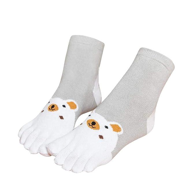 VJGOAL Niños Invierno Mantener caliente Grueso Transpirable Animal Print Patchwork Toe Calcetines Cinco Dedos Calcetines de