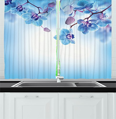 Ambesonne Flower Decor Kitchen Curtains, Orchids Asian Natural Flowers Reflections on Water for Spring Calming Art, Window Drapes 2 Panels Set for Kitchen Cafe, 55 W X 39 L Inches, Blue and Purple Review