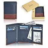 Slim Leather RFID Trifold for Men - Handmade RFID Blocking Genuine Leather 7 Card Holder With ID Window by Estalon