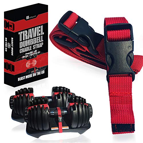 Transport Travel Straps Compatible with Bowflex SelectTech 552, Red and Black