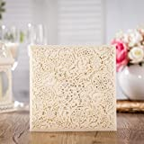 Wishmade 100x Laser Cut Invitations Cards Kit With Matched Thank You Card and RSVP Card For Wedding Party Birthday Occasion CW6110