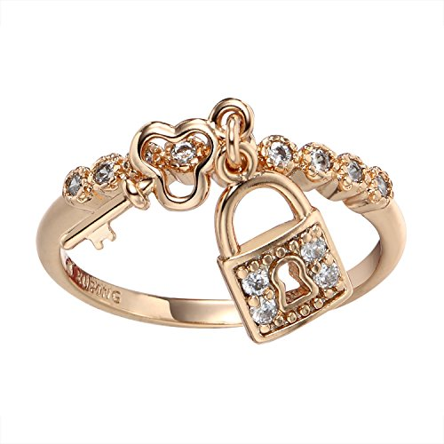 Romantic Time Personalized 18k Rose Gold Plated Diamond Key To Lock Couples Ring (6.5)