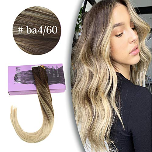 VeSunny 18inch Tape in Hair Extensions Blonde Human Hair Balayage Rooted #4 Fading to #613 Double Sided Seamless Skin Weft Adhesive Tape Remi Glue on Human Hair Extensions 20pcs 50Gram (Best Products To Use On Tape Extensions)