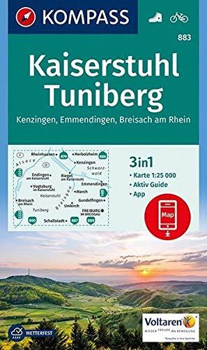 Kaiserstuhl, Tuniberg, Kenzingen, Emmendingen, Breisach am Rhein: 3in1 Wanderkarte 1:25000 mit Aktiv Guide inklusive Karte zur offline Verwendung in ... (KOMPASS-Wanderkarten, Band 883)