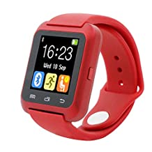 HP95 Bluetooth Smart Watch,U80 Smart Wrist Watch Sleep Monitor Sport Pedometer for iPhone LG Samsung (Red)