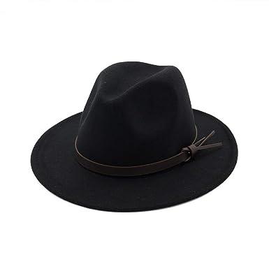 963c3007523 Vim Tree001 Womens Fedora Hats with Belt Buckle Wide Brim Panama Fedora Cap  Black