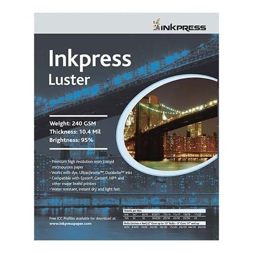 "UPC 879155000179, Inkpress Luster, Single Sided Inkjet Paper, 240gsm, 10.4 mil., 5x7"", 50 Sheets"