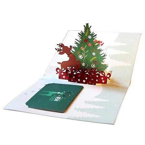 BESTOYARD Tarjeta de felicitación de Navidad 3D Árbol de ...