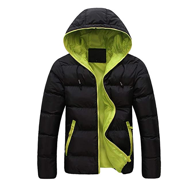 Fowii Herren Winter Warme Kapuzen Slim Casual Baumwolle