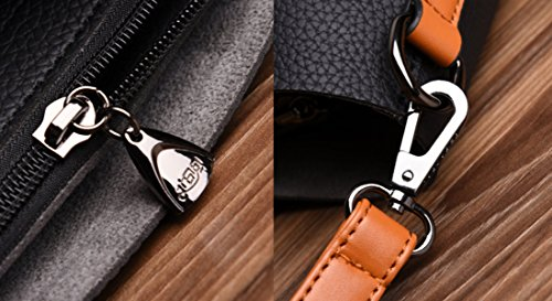 Damen Quaste Tote Bag PU Einfache Schultertasche Messenger Bag Tasche Big Bag Braun Handtaschen Black S5qIFQnaA