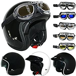 Open-Face Helmet Drop Down Visor,Motorcycle Crash Helmet Motorbike Jet Cruiser Retro Mofa Chopper Vespa Scooter Pilot ECE Certified,Brown,M