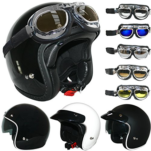 ATO Vintage Motorcycle Helmet with Goggles Size XL 61 to 62 cm