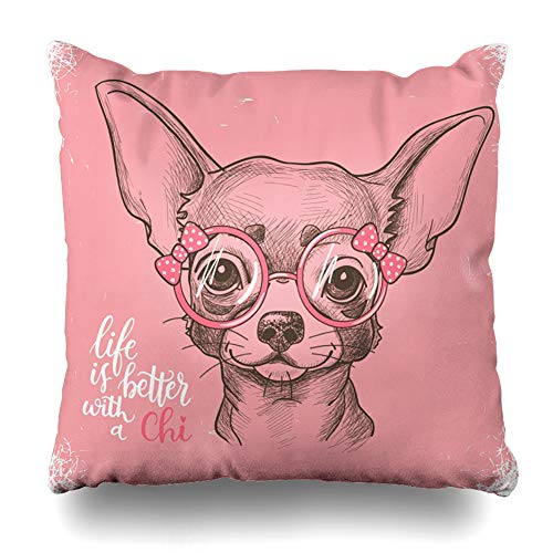AlliuCoo Throw Pillow Covers Drawn Pink Cool Girl Chihuahua Cute Wildlife Drawing Puppy Sweet Baby Bow Design Home Decor Zippered Cushion Case Square Size 20