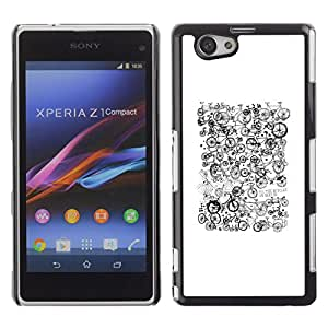 Paccase / SLIM PC / Aliminium Casa Carcasa Funda Case Cover para - White Black Pattern Hipster - Sony Xperia Z1 Compact D5503