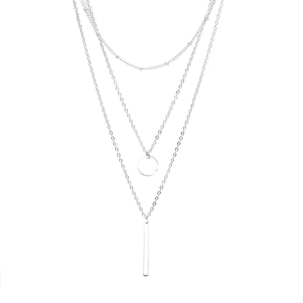 WikiMiu Collares Mujer Plata Joyería de moda, collar de múltiples filas con el colgante, Regalos romandicos para las mujeres