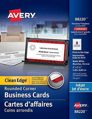 Avery Two-Side Printable Clean Edge Rounded Corner Business Cards for Inkjet Printers, White, Pack of 160 (Clean Edge Cards)